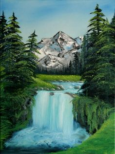 Bob Ross Tribute Oil Painting Valley Waterfall by SFX