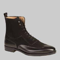 Handmade Men black color ankle leather boot, Men Wing tip ankle lace up boots - Boots