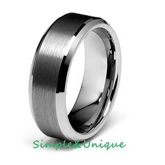 Tungsten Wedding Band,Mens Wedding Bands,Tungsten Carbide,Tungsten Ring,8MM Brushed Center Beveled Edge Wedding Ring, His Promise Ring