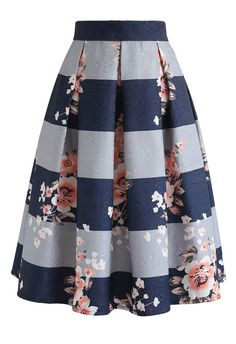 Joy to the World Stripe Floral Midi Skirt blue L - Midi Skirts - Ideas of Midi Skirts- Joy to the World Stripe Floral Midi Skirt Skirt BOTTOMS Retro Indie and Unique Fashion Unique Fashion, Modest Fashion, Fashion Dresses, Fashion Fashion, Retro Fashion, Indie Fashion, Fashion Brands, Fashion Shoes, Womens Fashion
