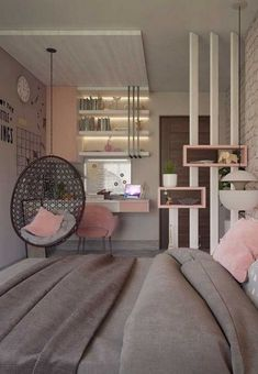 25 Small Teen Bedroom Decor Ideas You Will Love Wonderful Teen Bedrooms Bedroom decor ideas love Small Teen Teen Bedroom Designs, Cute Bedroom Ideas, Room Ideas Bedroom, Small Room Bedroom, Home Decor Bedroom, Bedroom Office, Small Apartment Bedrooms, Gray Bedroom, Decor Room