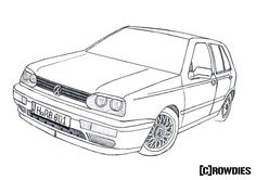 #drawing #zeichnung Golf Mk3, Vw Golf 3, Volkswagen Golf, Toyota Starlet, Monster Boy, Hippie Painting, Cars Coloring Pages, Vanellope, Bmw M4