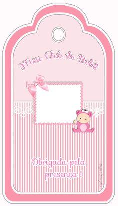 """Kit Personalizado """"Chá de Bebê"""" Menina para Imprimir - Convites Digitais Simples"""