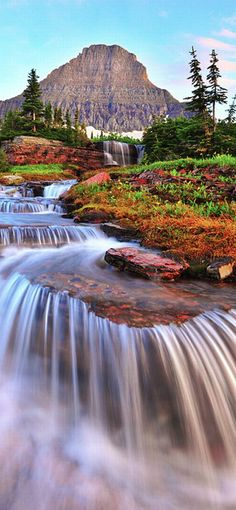 Waterfalls of Glacier National Park in Montana  // Premium Canvas Prints & Posters // www.palaceprints.com // STORE NOW ONLINE!