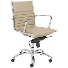 Lugano Taupe Leatherette Low Back 23-Inch-W Office Chair - #EU5K196 - Euro Style Lighting