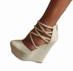 Beige-Suede-Platform-Wedge-Strappy-Criss-Cross-Heels-Pumps-Booties-Shoes-7-5