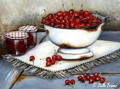 Art by Stella Bruwer white enamel footed bowl of cherries on white fringed mat 2 jars with gingham lids Ceramic Painting, Diy Painting, Stella Art, Recipe Scrapbook, Decoupage Vintage, Country Paintings, Jewish Art, Still Life Art, Fruit Art