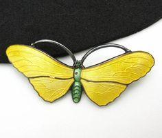 Butterfly Pin Enamel Sterling Silver JA Vintage Brooch Yellow Figural Moth
