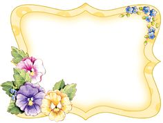 Yellow frame with pansie corner accent