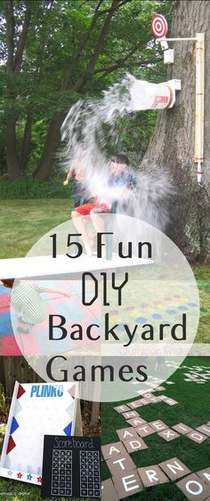 "15 Fun DIY Backyard Games - excellent ideas for Summer BBQs or family fun [ ""Too many kids spend summers cooped up in front of a TV, but with these 15 fun games, your kids will have no shortage of ideas for backyard adventures!"", ""15 Fun DIY Backyard Games Click highlighted link in each description for how-to directions."", "" Gardening, home garden, garden hacks, garden tips and…"", "" Great way to get your kids active!"", ""That is a super cool diy splash bucket"", ""If you have a passi..."