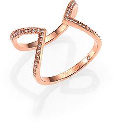 Michael Kors Motif Pave Open Arrow Ring/Rose Goldtone