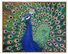 "Peacock Painting Box Wood Frame 16 "" x 20"" free shipping"