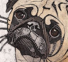 Pug 3  hand pulled collograph art print of by bonniemurrayart, $69.00