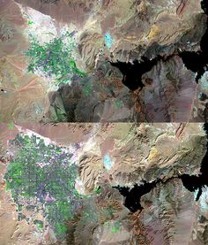 Satellite photos showing the spread of humans on the earth.. we look like mold.