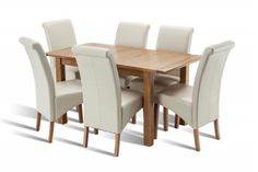 Bradbury Oak Dining Set Extending Table with 6 Henley Cream faux leather Dining Chairs Oak Dining Sets, Dining Bench, Faux Leather Dining Chairs, Cream, Table, Furniture, Home Decor, Creme Caramel, Decoration Home