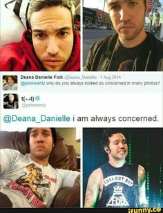 I relate to Pete Wentz about Patrick's cinnamon roll qualities being ruined Pete Wentz, Emo Bands, Music Bands, Rock Bands, Save Rock And Roll, Soul Punk, Music Memes, Band Memes, Panic! At The Disco