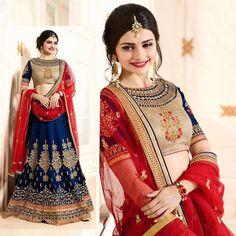 Indian Bollywood Blue Georgette Wedding Lehenga Choli Bridal Dupatta For Womens