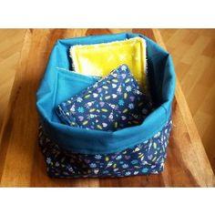 Pack 12 cotons éponges + Panier fleuri - Créations bébé - Créations - Le hibou sur le fil