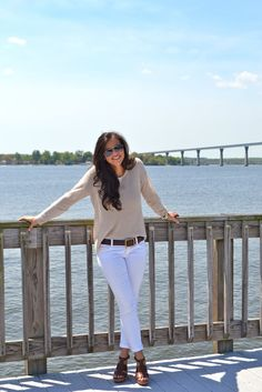 Oatmeal Blouse, White Skinny Jeans, Wedges