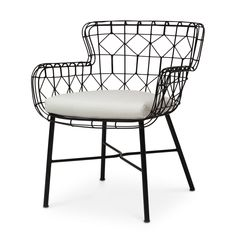 Hand-welded and powder coated steel frame. Loose seat cushion.