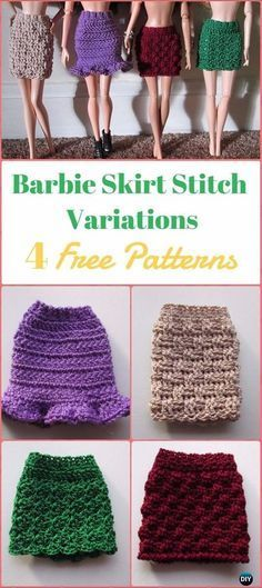 Crochet Barbie Skirt Stitch Variations Free Pattern - Crochet Barbie Fashion Doll Clothes Outfits Free Patterns