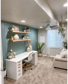 Zen Office, Office Space Decor, Cozy Home Office, Cool Office Space, Guest Room Office, Home Office Design, Small Home Design, Office Room Ideas, Home Office Colors