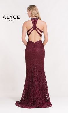Mermaid lace dress with a halter top and open racerback.