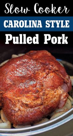 Carolina Slow Cooker Pulled Pork Easy Carolina Style Slow Cooker Pulled Pork by Plating Pixels. Rich spices and tangy broth make this pulled pork recipe fork tender in a slow cooker. Tender flaky pulled pork – www. Slow Cooked Meals, Crock Pot Slow Cooker, Crock Pot Cooking, Easy Cooking, Slow Cooker Recipes, Cooking Recipes, Crock Pots, Cooking Steak, Cooking Oil