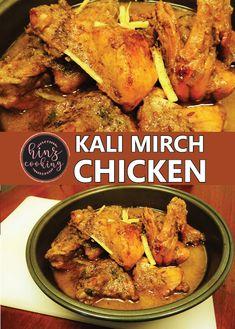 Kali Mirch Chicken Recipe Step By Step Video - Murgh Kali Mirch Pakistani Chicken Recipes, Pakistani Recipes, Indian Food Recipes, Vegetarian Recipes, Cooking Recipes, Chicken Recipes In Hindi, Chicken Recipes Video, Pakistani Dishes, Chicken Gravy