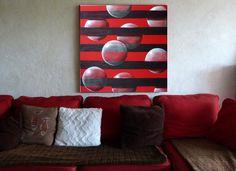 """""""Les bulles"""" Tableau original peint par l'artiste peintre B-LEC sur un fond en tissu rouge www.b-lec.sitew.com"""