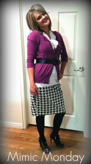 Houndstooth skirt w ruffle shirt and color splash