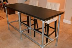 DIY Counter Height Table with Pipe Legs Need center support??