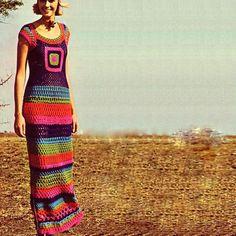 PDF CROCHET PATTERN ~~ Granny Square Maxi Sun Evening Dress   via Etsy.