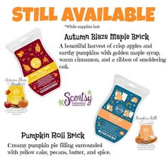 HOLIDAY BRICK BAZAAR- SCENTSY BRICKS- PUMPKIN ROLL AND AUTUMN BLAZE MAPLE http://charitajones.scentsy.us #ORDERNOW #Shop #Now #Scentsy IS THE #PERFECT #GIFT #IDEA! #wax #warmer #wedding #shower #candle  #giftidea #bbmb #guam #ireland #puertorico #canada #usa #germany #uk #mexico #australia #poland  #spa ♥  #JOIN MY #TEAM #TODAY! ♥ #NOW  IS THE #TIME! http://charitajones.scentsy.us/join