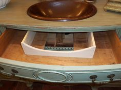Don't loose valuable storage space when you use a vintage buffet as a bathroom vanity. The top middle drawer can be re-built to fit around the plumbing. Main bath idea for the U. Bathroom With Makeup Vanity, Bathroom Vanity Drawers, Bathroom Vanity Makeover, Bathroom Furniture, Bathroom Renos, Master Bathroom, Furniture Making, Diy Furniture, Vintage Buffet