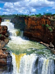 Ken Duncan shoots the Kimberleys - Mitchell Falls, Mitchell River National Park, Kimberley, Western Australia by Ken Duncan - Australia Funny, Western Australia, Australia Travel, Mitchell Falls, Places Around The World, Around The Worlds, Melbourne, Waterfall Paintings, Ocean Photography