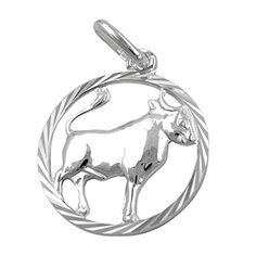 This is a chic zodiac sign pendant with a framed Taurus symbol. The round border has a sophisticated diamond cut and the pendant has a beautifully finished and Taurus Symbols, Round Border, Silver Prices, Luxury Jewelry, 1 Piece, Zodiac Signs, Diamond Cuts, Handmade Jewelry, Pendants