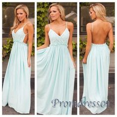 2016 cute hollow backless Light blue chiffon Prom dress with straps, long formal dress for teens