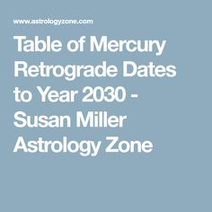 Table of Mercury Retrograde Dates to Year 2030 - Susan Miller Astrology Zone Susan Miller Astrology, Mercury Retrograde Dates, Sun Moon Stars, Astrology Signs, Gemini, Dating, Table, Twins