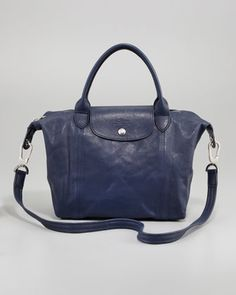 Le Pliage Cuir Small Handbag with Strap, Navy  by Longchamp at Neiman Marcus.