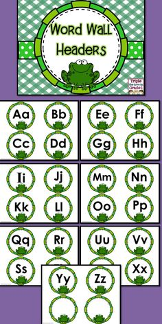 $1 These adorable word wall headers will be perfect in your frog themed classroom or if you just like frogs! Simply print, laminate, cut and display! You may wish to staple them to a bulletin board or use a ribbon underneath to hang words with a clip so that the word wall will be interactive! Frog Theme Classroom, 2nd Grade Classroom, New Classroom, Classroom Displays, Kindergarten Classroom, Classroom Organization, Classroom Decor, Frog Bulletin Boards, Back To School Bulletin Boards