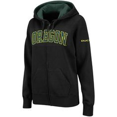 Oregon Ducks Stadium Athletic Women's Arched Name Full-Zip Hoodie - Black
