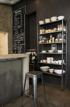 Name: Bolivar Location: Oslo, NO Bolivar is a great urban cafe set against a beautiful raw backdrop of exposed concrete, metal, and . Industrial Coffee Shop, Industrial Farmhouse Kitchen, Kitchen Dining, Industrial Kitchens, Industrial Design, Industrial Shelves, Cosy Kitchen, Kitchen Rack, Kitchen Stools