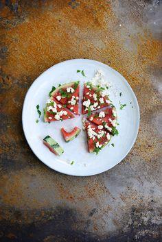 Kevyt vesimeloni-fetasalaatti Dairy Free, Gluten Free, Healthy Food, Healthy Recipes, Tex Mex, Feta, Sugar Free, Salads, Cheese