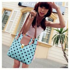 $7.25 New Arrival Dot Printed and Snap Fastener Design One-Shoulder Bag For Female