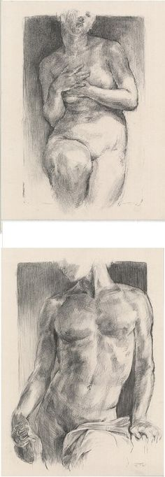 Life drawing. You can see here my male nude and female nude original charcoals.