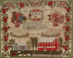 "Pennsylvania wool needlework, dated 1842, wrought by Mary Ann Baily, depicting a large farm house with lawn, within floral and ribbon borders, 21"" x 25""."