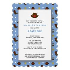 Cowboy Adoption Baby Shower Invitations
