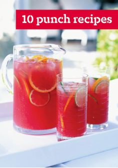10 Punch Recipes – Our cool and refreshing punch recipes are perfect for parties and ready in minutes. Fruity or fizzy, sweet or tangy, your guests will savor every sip.