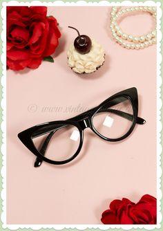 b3d1f7d73488a8 Boolavard 50er Jahre Retro Cat Eye Klarglas Brille - Office Cat - Schwarz